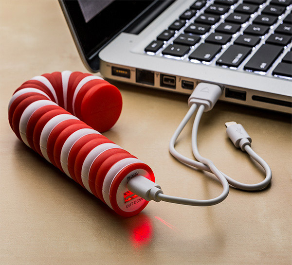 Candy Cane Portable Battery Charger - Candy Cane Christmas Charger