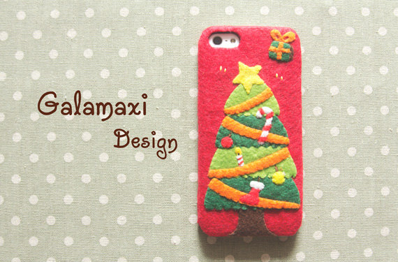 Christmas Themed Soft Felt Phone Cases - Christmas Tree