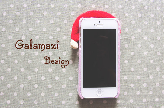 christmas themed soft felt phone cases santa clause