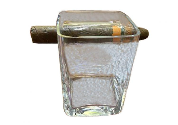 Cigar Holding Whiskey Glass - Scotch Glass Holds a Cigar on the side of it