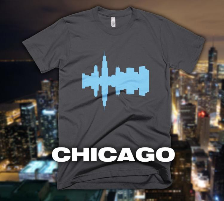 City Skyline Audio Wave T-Shirts - Chicago