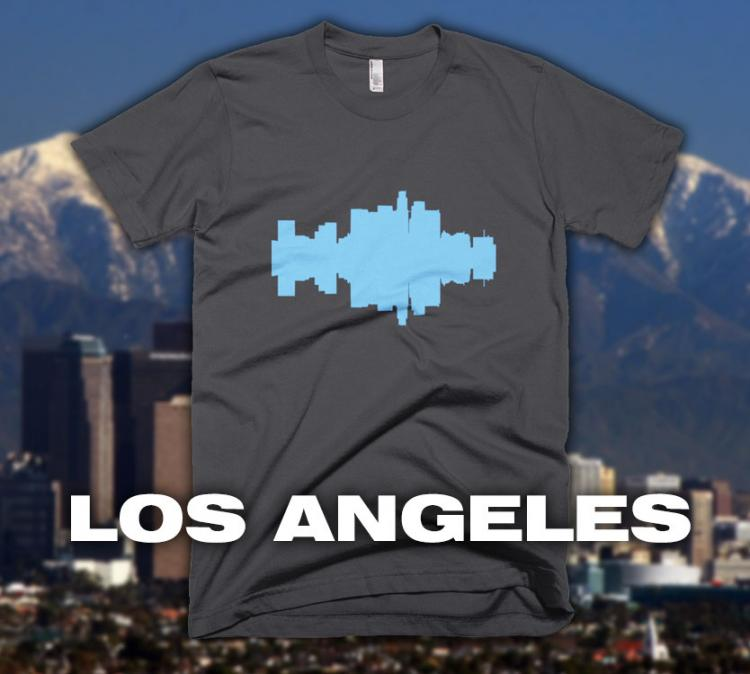 City Skyline Audio Wave T-Shirts - Los Angeles