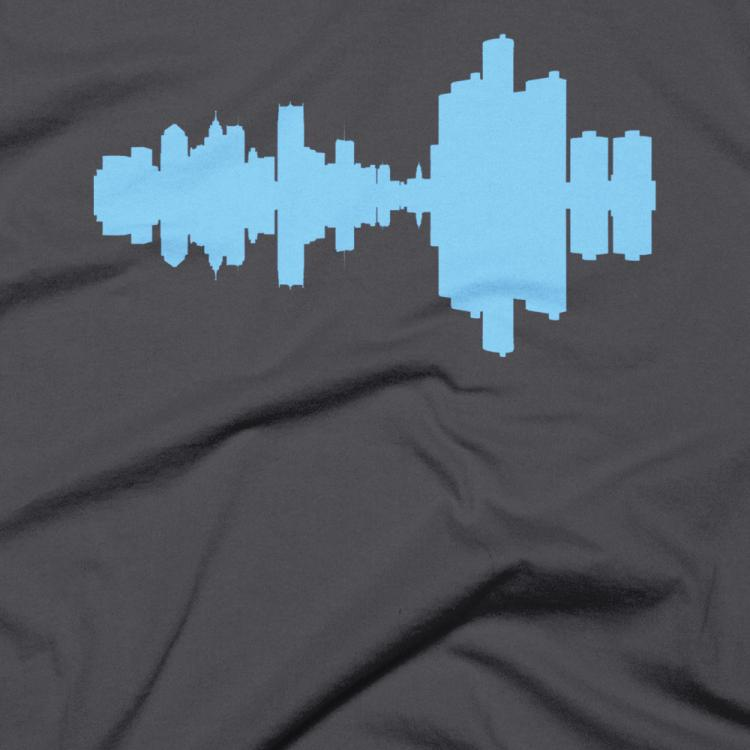 City Skyline Audio Wave T-Shirts - Detroit