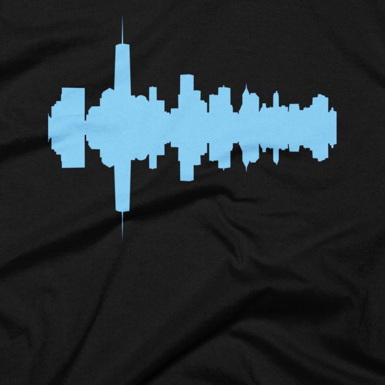 City Skyline Audio Wave T-Shirts - New York City