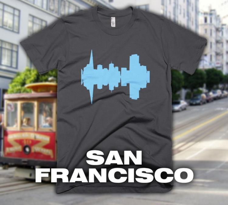 City Skyline Audio Wave T-Shirts - San Francisco