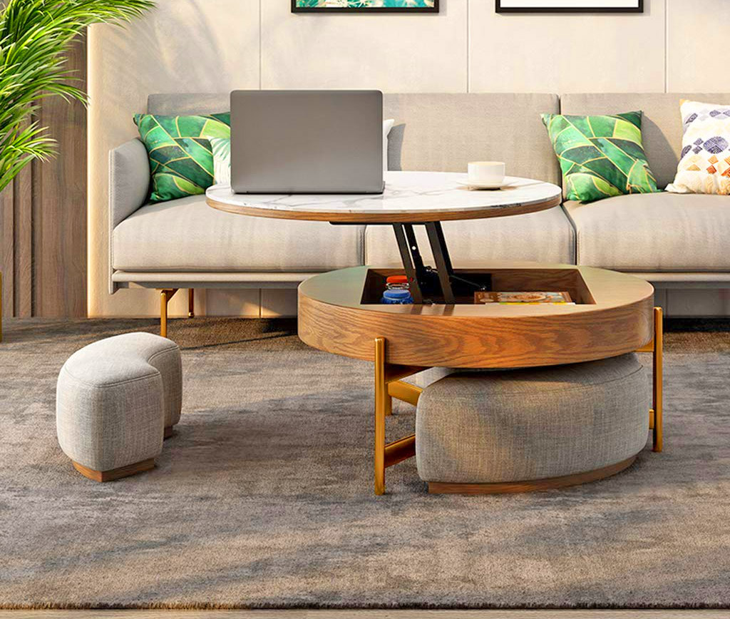 This Amazing Rising Coffee Table Has 3 Integrated Ottomans That Hide Underneath It