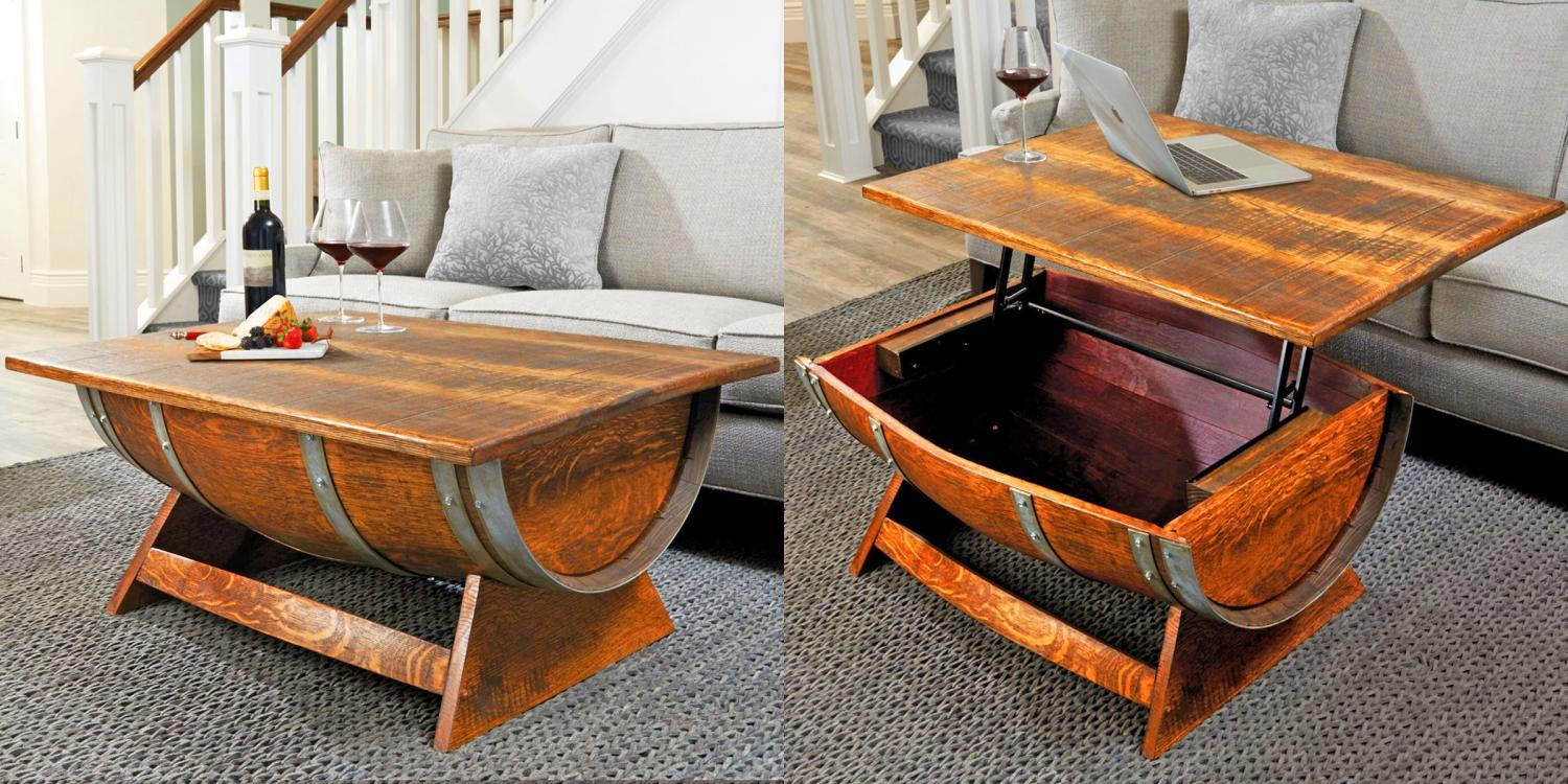 liftable table that's made from a reclaimed wine barrel