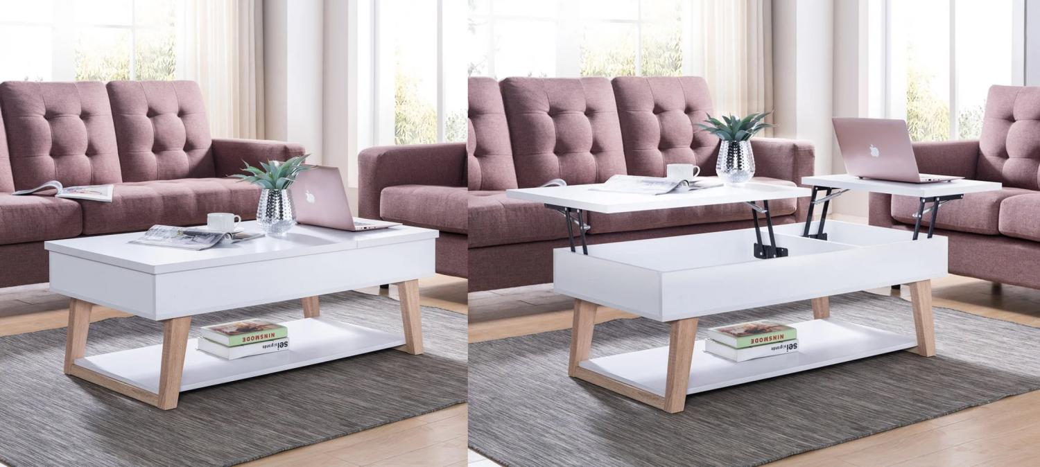 unique lifting coffee table that has two separate lifting surfaces