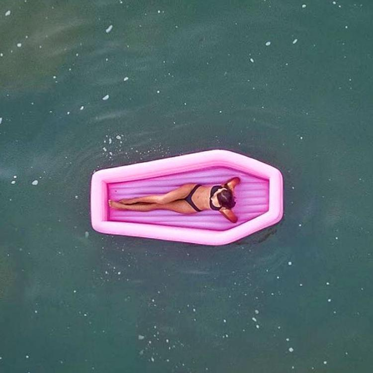 Pink Coffin Pool Float