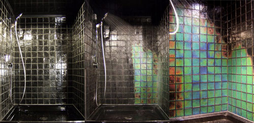 thermal bathroom tiles this shower tile changes color depending on the 14648