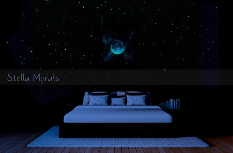 Glow In The Dark Shooting Comet With Stars and Moon- Outer-space transparent ceiling mural poster