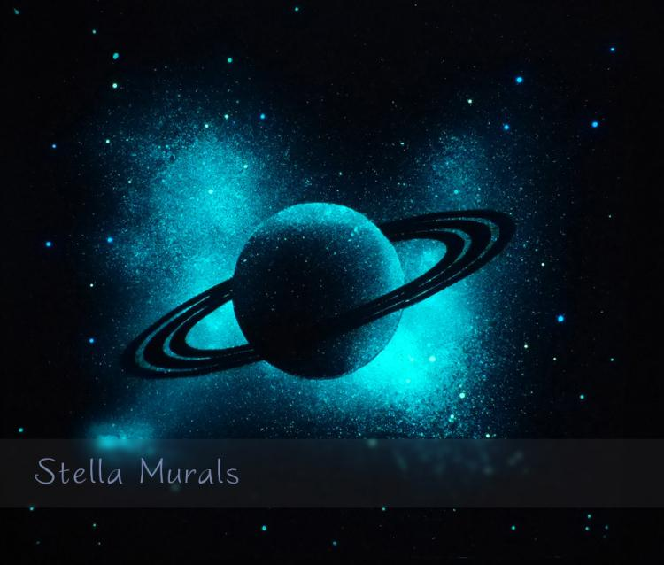 Glow In The Dark Planet Saturn - Outer-space transparent ceiling mural poster