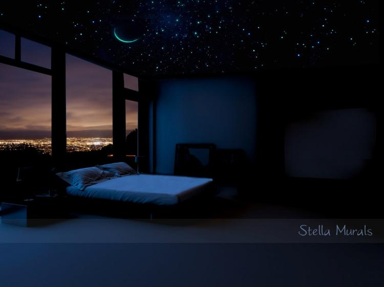 Glow In The Dark Shooting Comet With Stars and crescent moon - Outer-space transparent ceiling mural poster