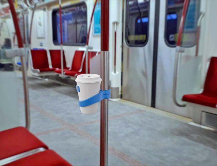 ComfyCup: Portable Cup Holder - Cup holder for trains, buses, subways, and bicycles