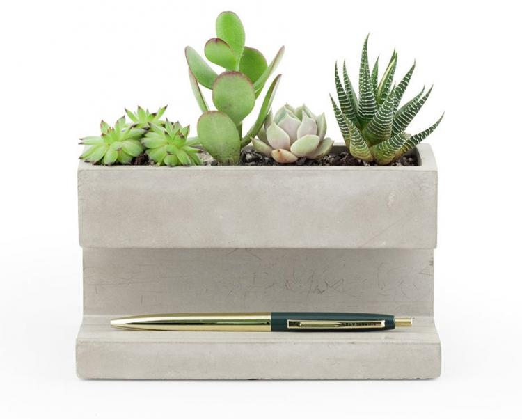 Concrete Desk Planter and Concrete Pen Holder - Classy Concrete Succulents Planter