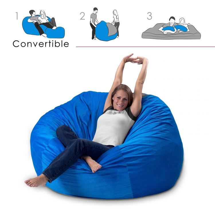 Convertible Bean-Bag Chair Turns Into a Queen Size Mattress Bed - Bean Bag Bed