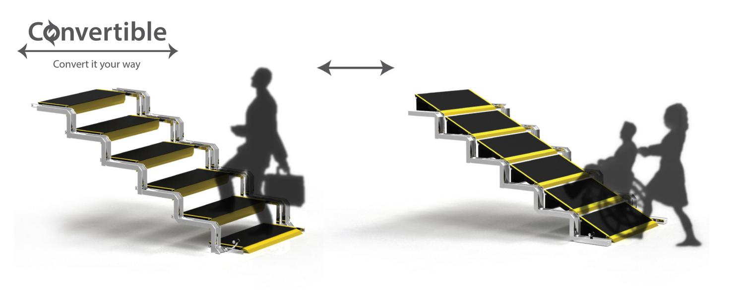 Convertible Stairs Convert Into a Wheelchair Ramp When Needed