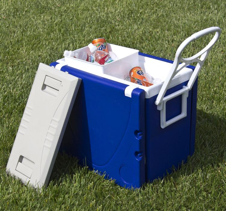 Rolling Cooler With Fold-out Table and Chairs - Blue