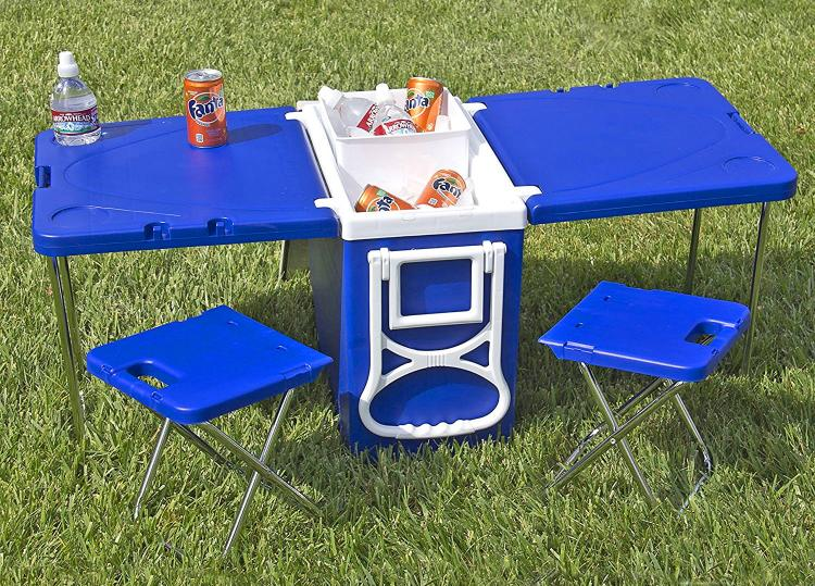 Rolling Cooler With Fold Out Table And Chairs Mini Picnic