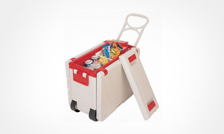 Rolling Cooler With Fold-out Table and Chairs - White