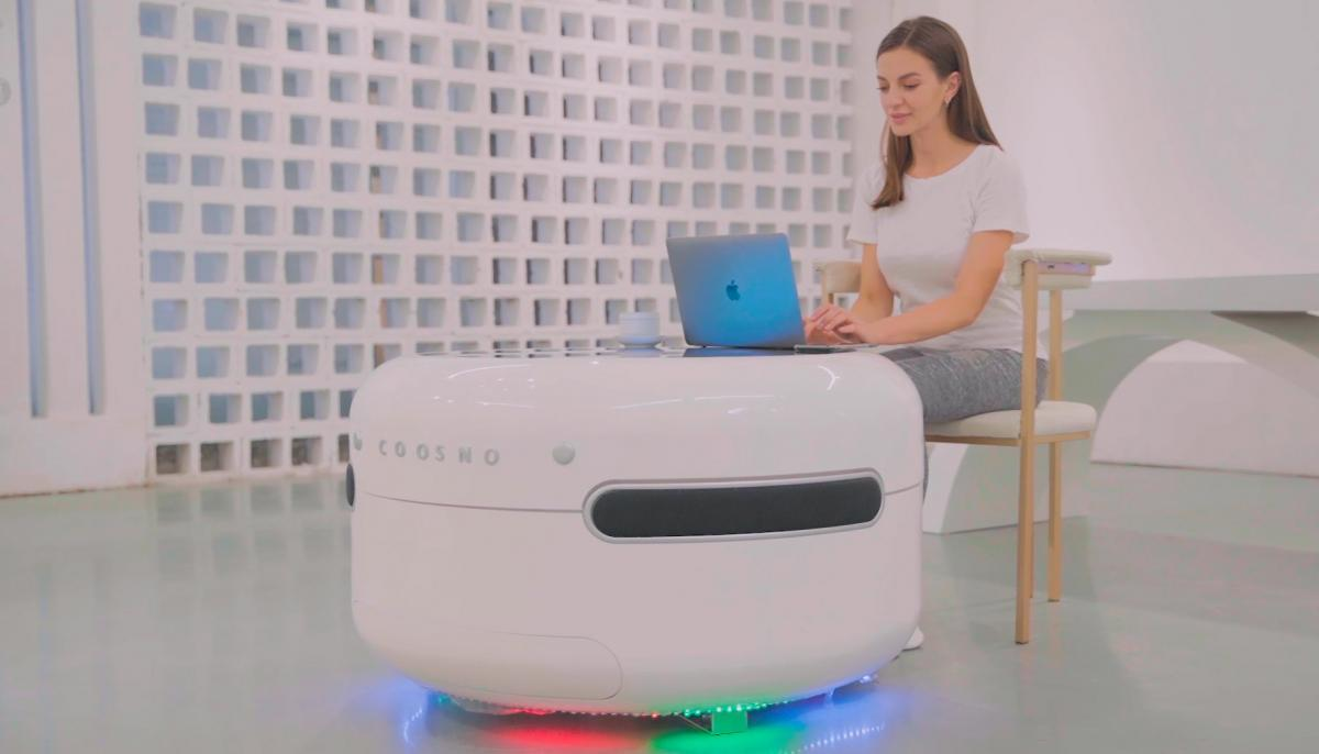 Coosno Ultimate Smart Coffee Table Fridge - Voice activated futuristic coffee table doubles as refrigerator