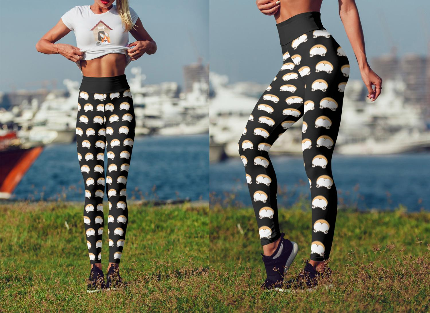 Corgi Butt Leggings - Corgi butt yoga pants turn your booty into a corgi butt