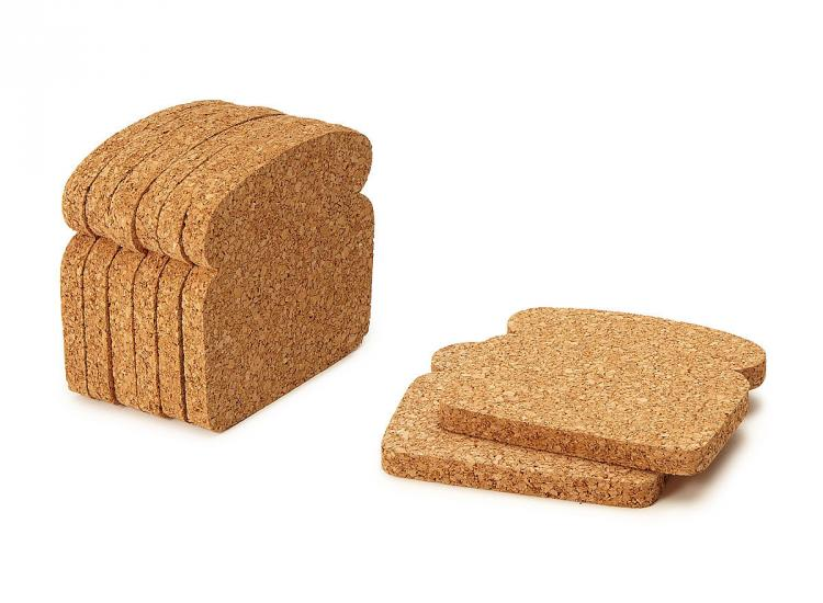 Cork Toast Coasters - Toast It Coasters - Bread Shaped Cork Coasters