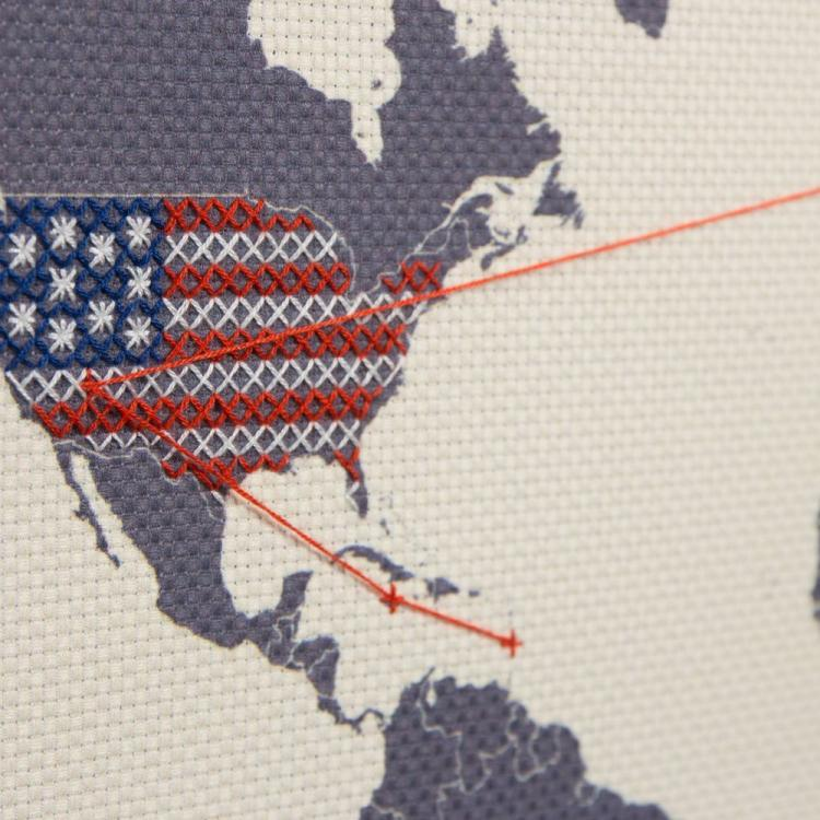 Cross stitch map lets you record your travels in your own unique way stitch map gumiabroncs Images