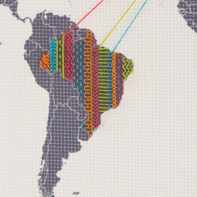 Cross Stitch Map - Cross-stitch travel map - Record your travels on a map with thread and needle