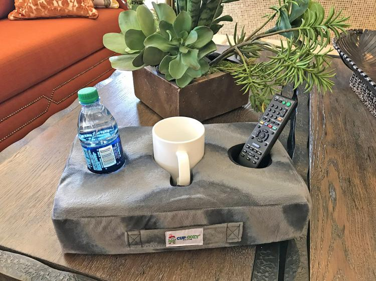 Cup Cozy Pillow - Flat foam pillow securely holds drinks and snacks on your couch - Couch drink holder