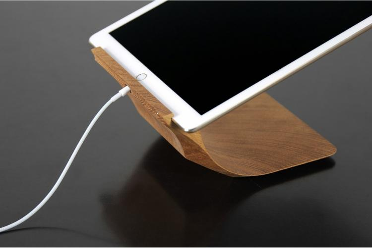 Classy Curved Wooden iPad Stand With 3 Different Viewing Angles