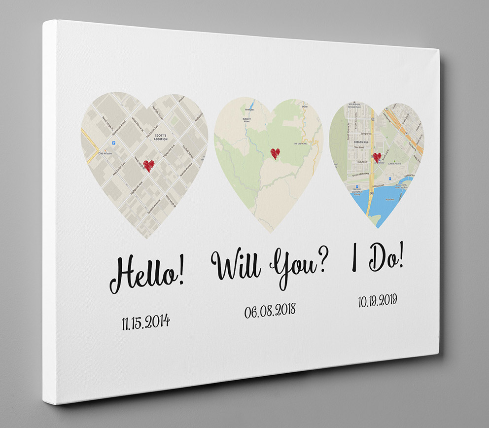 Custom Heart Shaped Map Prints Let You Track How Your Relationship - hello, will you, i do custom canvas anniversary gift prints