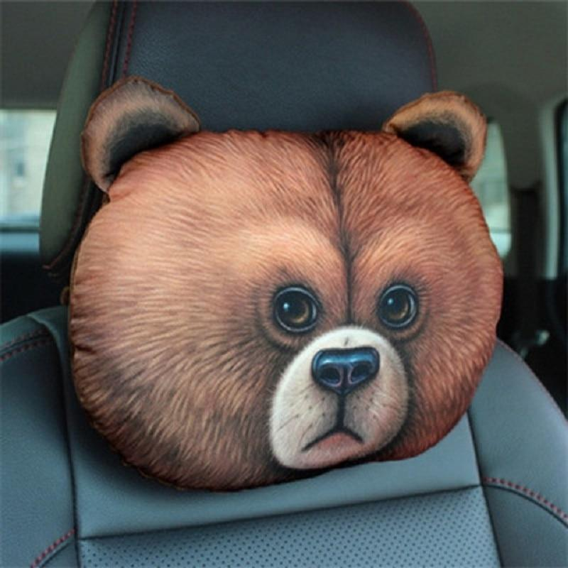 Cute Cat and Dog Head Car Seat Pillows - Bear car seat pillow