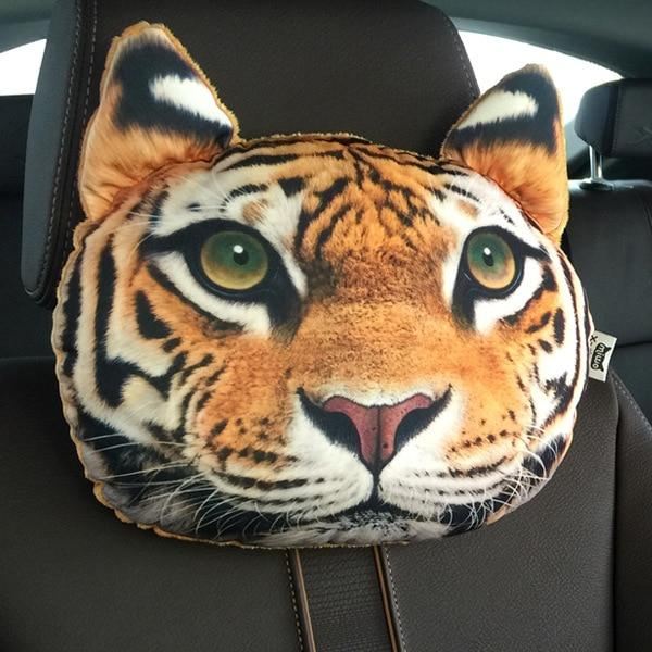 Cute Cat and Dog Head Car Seat Pillows - Tiger car seat pillow