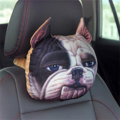 Cute Cat and Dog Head Car Seat Pillows - Bulldog car seat pillow