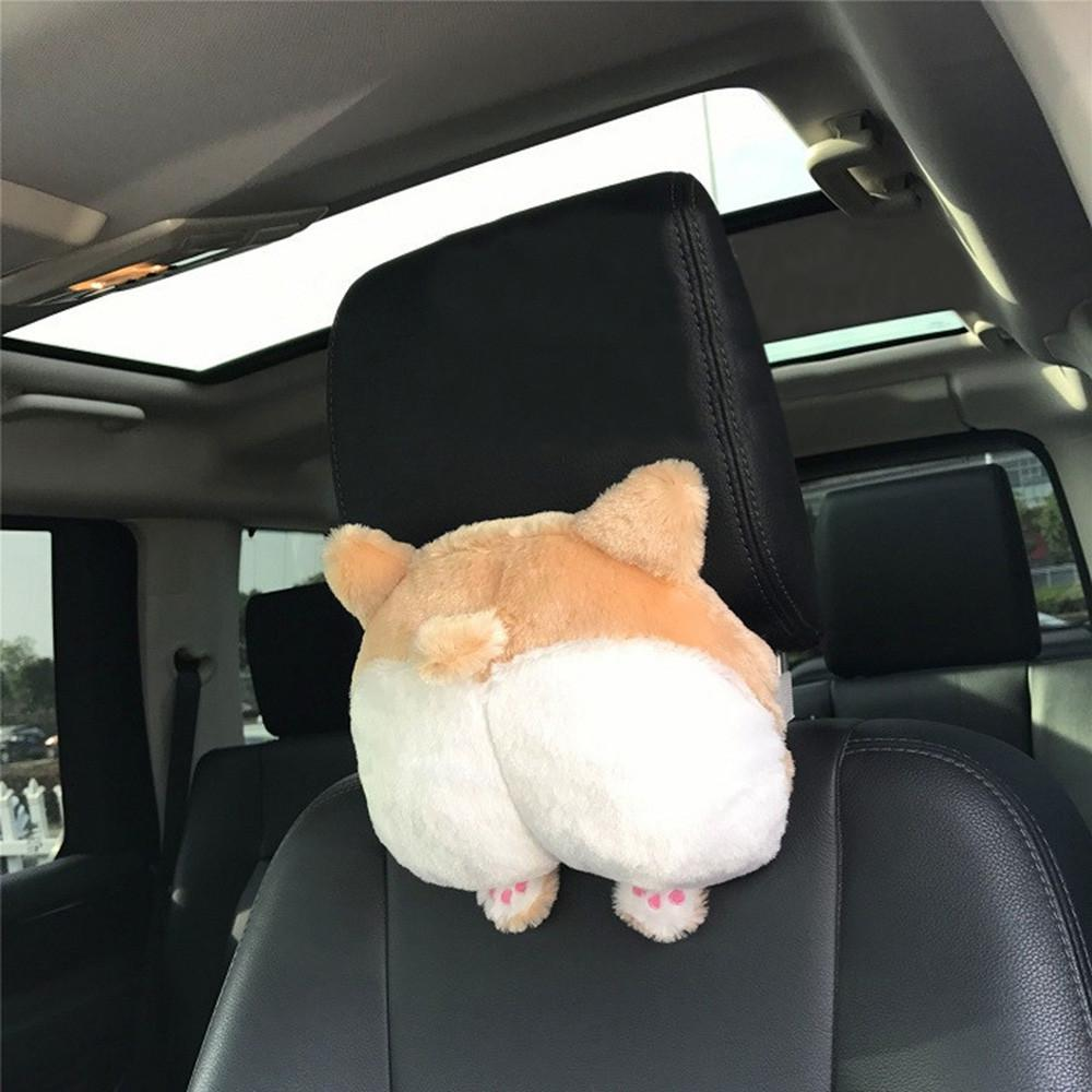 Cute Cat and Dog Head Car Seat Pillows - Corgi Butt car seat pillow