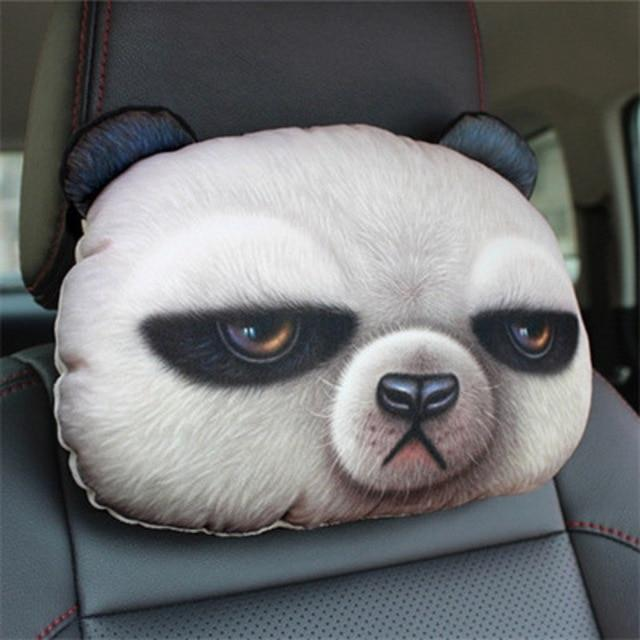 Cute Cat and Dog Head Car Seat Pillows - Panda car seat pillow
