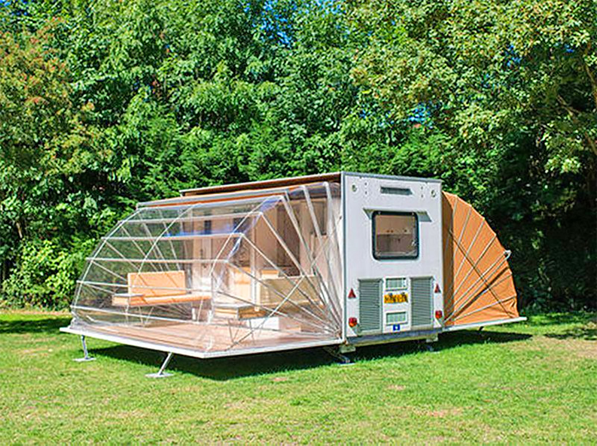Folding Camping Trailer Expands To Triple Its Size With Fold-Out Awnings - De Markies Expanding Retro Trailer