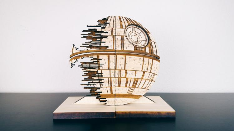Star Wars Death Star Bookends - Star Wars Death Star Wooden Book Holder