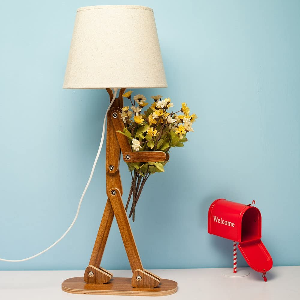 Depressed Lamp - Sad man adjustable wooden lamp - Adjustable legs lamp
