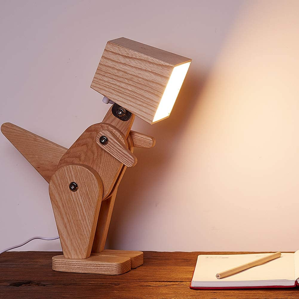 Dinosaur Lamp - Dinosaur adjustable wooden lamp - Adjustable legs dinosaur lamp