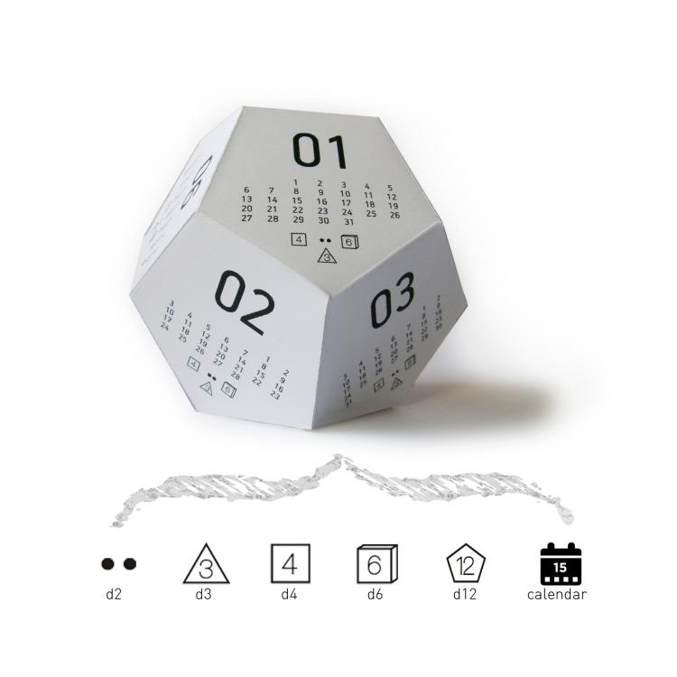 3D Gaming Dice Shaped Calendar - 2017 Calendar - DiceCal
