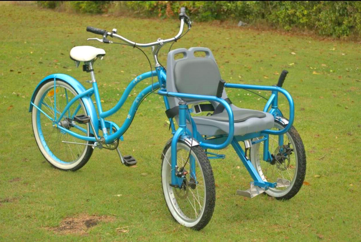 Bike Chair - Disabled bicycle helps handicapped go for bike ride - Front passenger disabled tricycle