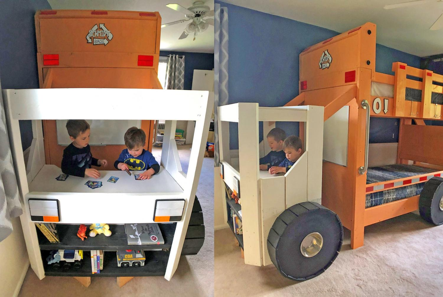 This Garbage Truck Bunk Bed Has A Desk And Bookshelf In The Cabin Of The Truck