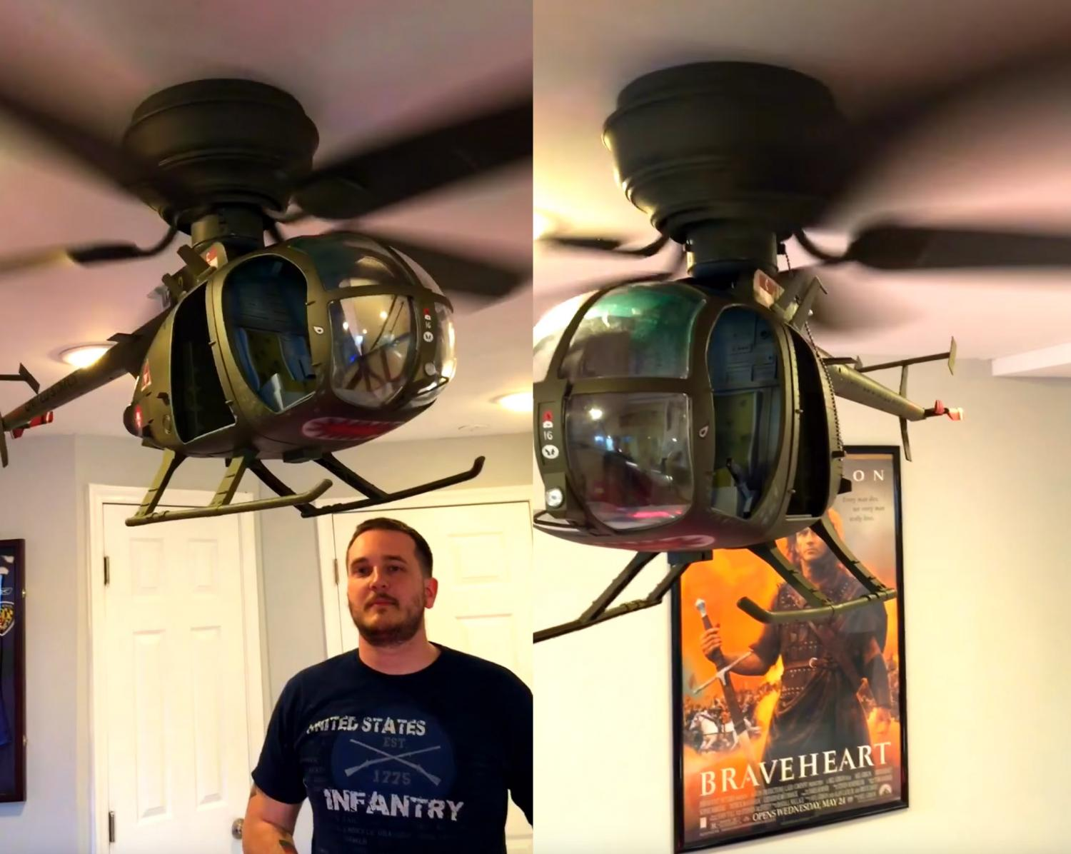 DIY Helicopter Ceiling Fan - How to turn your ceiling fan into a helicopter