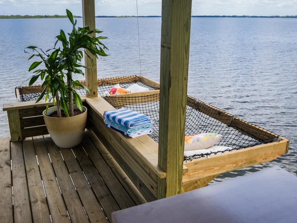 over-the-water dock - DIY side-mounted dock hammock for lake cabins