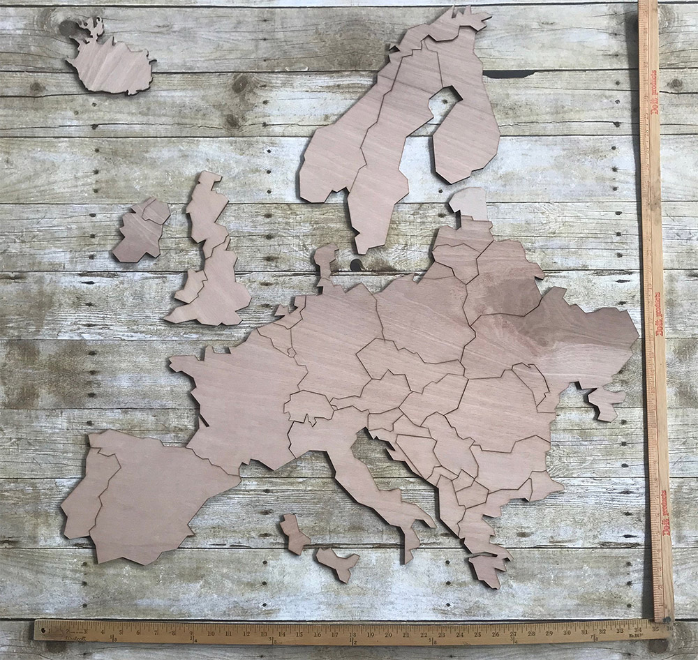 Document Your Travels With This Wooden Europe Photo Markings Map - Europe Countries wooden photo map