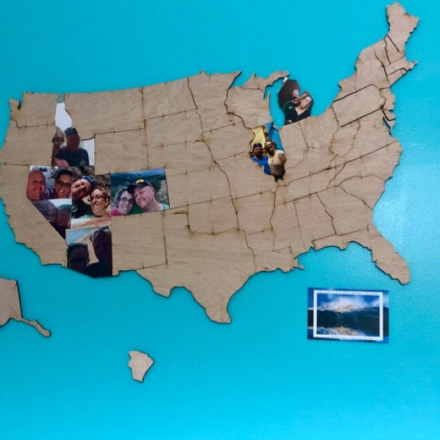 Document Your Travels With This Wooden U.S. State Photo Markings Map - United states wooden photo map