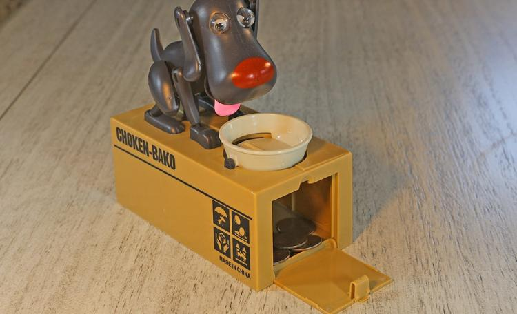 Hungry Dog Eating Coins Piggy Bank - Robotic dog coin bank