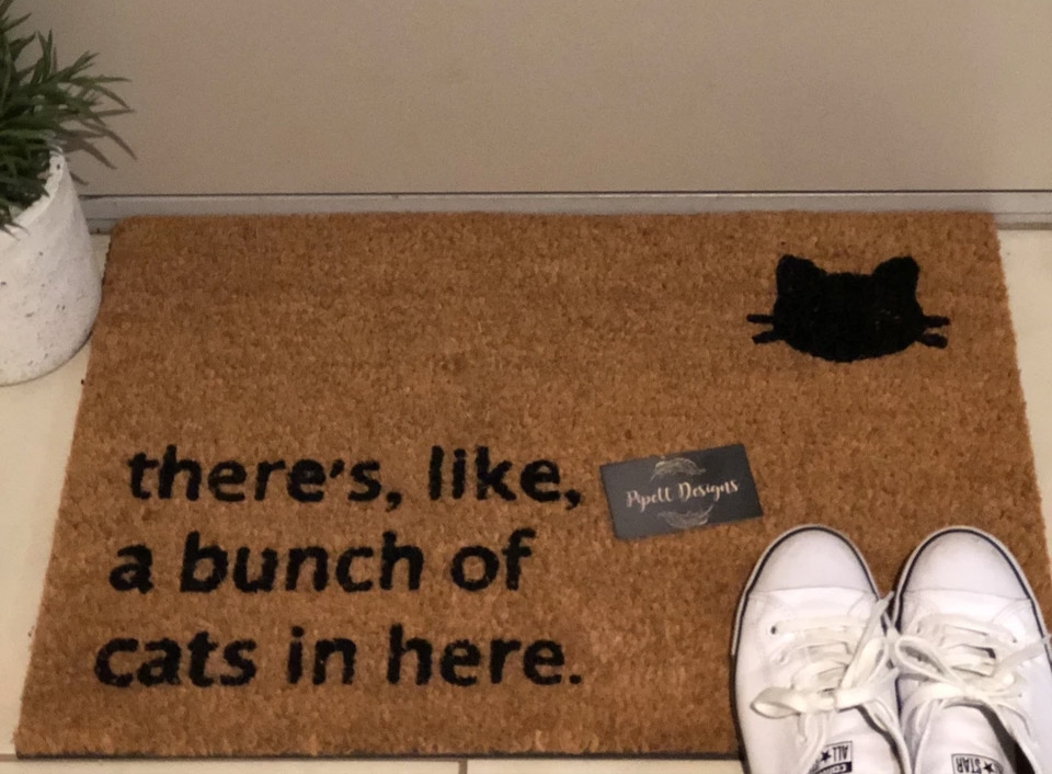 There's like a bunch of cats in here funny doormat